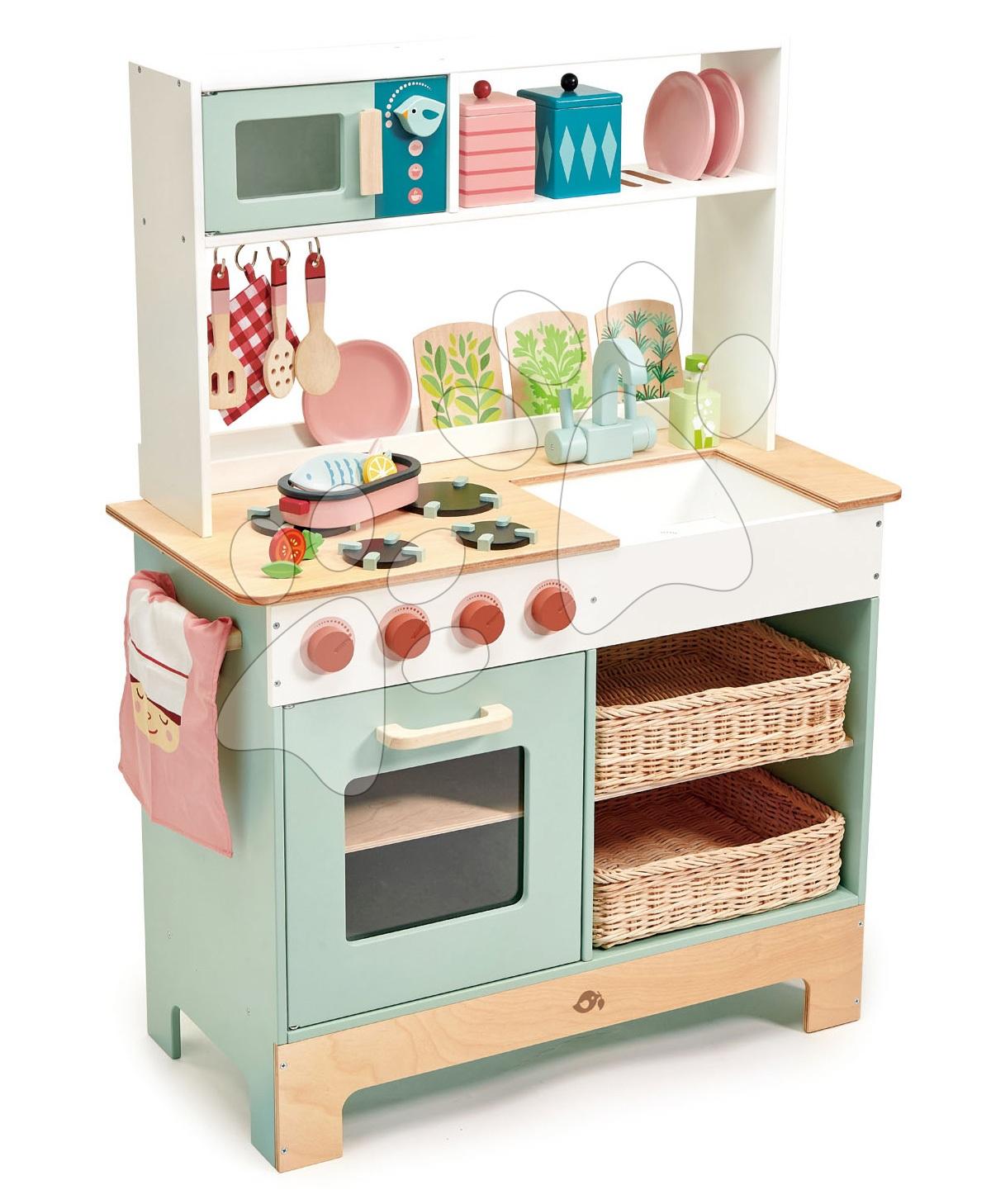 Drevená kuchynka s bylinkami Kitchen Range Tender Leaf Toys s magnetickou rybou, mikrovlnka a sporák so zvukmi