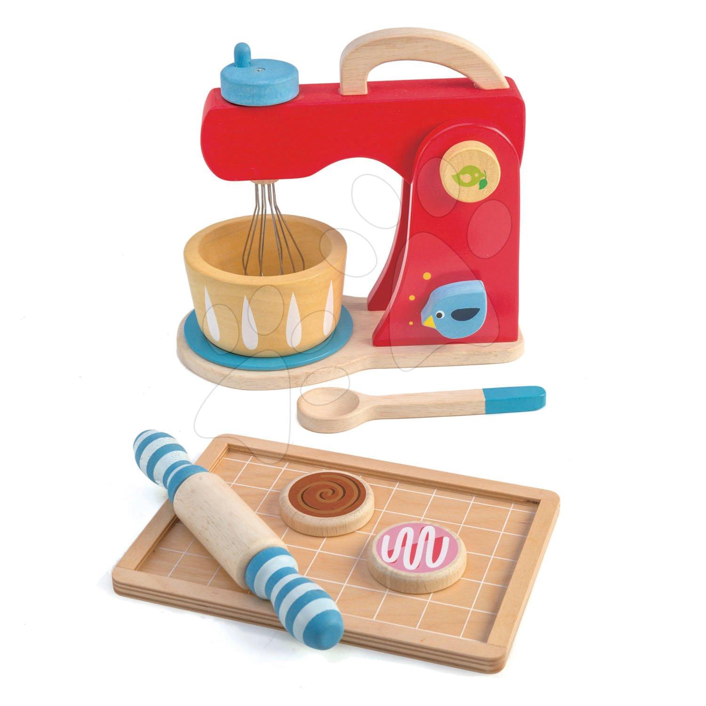 Dřevěný mixér se zvuky Baker's Mixing Tender Leaf Toys 7dílná sada s kuchyňským nádobím a koláči