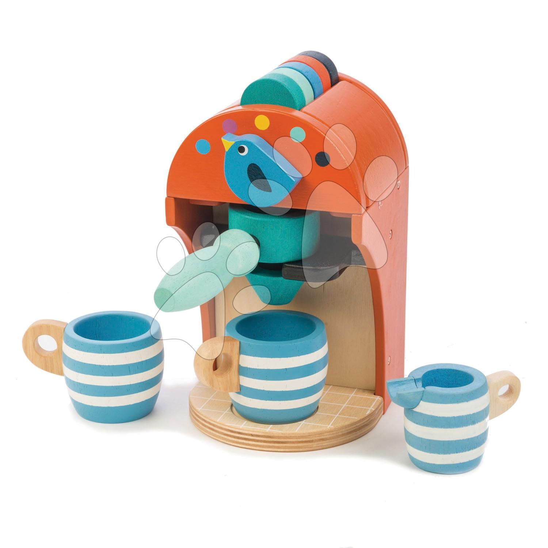 Drevený kávovar Espresso Tender Leaf Toys 10-dielna sada s 5 kapsulami 2 šálkami a nádobou na mlieko