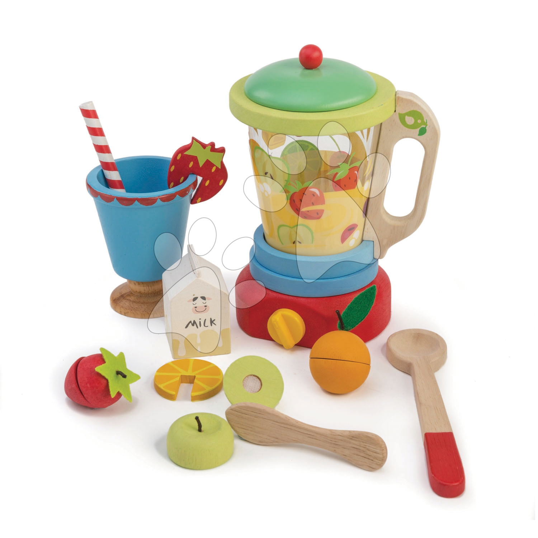 Dřevěný mixér s ovocem Smoothie Maker Tender Leaf Toys 11dílná souprava se sklenicí
