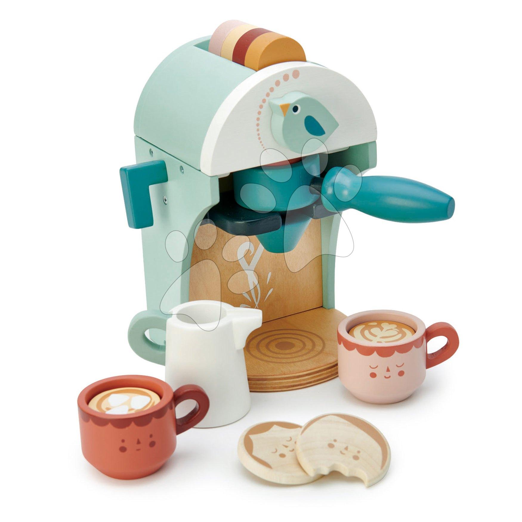 Dřevěný kávovar Cappuccino Babyccino Maker Tender Leaf Toys s dvěma šálky a sušenkami s mlékem
