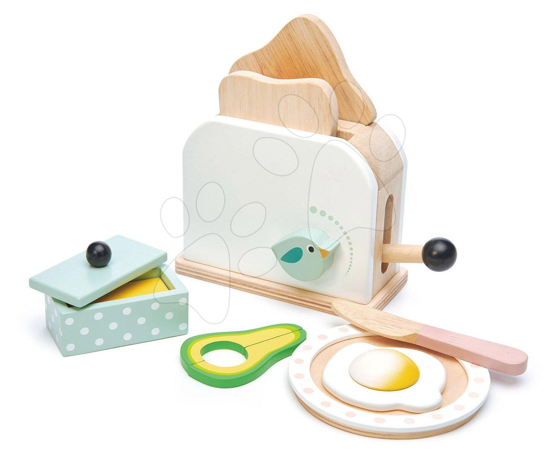 Drevený hriankovač s avokádom Breakfast toaster set Tender Leaf Toys chlebíky, vajíčko a riad