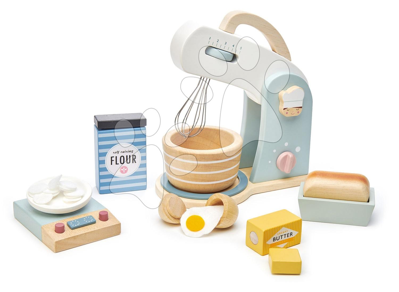 Dřevěný kuchyňský robot Home baking set Tender Leaf Toys s váhou, nádobím a potravinami