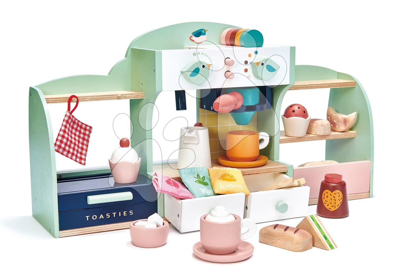 Drevená kaviareň Vtáčie hniezdo Bird's Nest Café Tender Leaf Toys s vypracovanými doplnkami a nálepkami