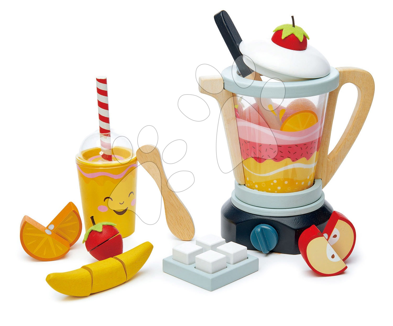 Dřevěný mixér Fruity Blender Tender Leaf Toys s kelímkem, ovocem a kostky ledu