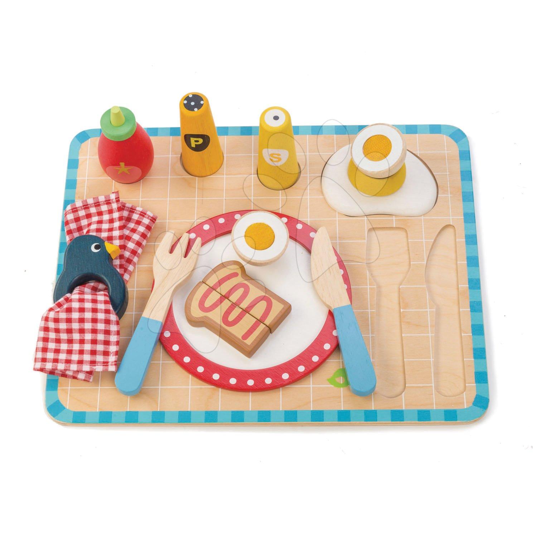 Dřevěný tác se snídaní Breakfast Tray Tender Leaf Toys 12dílná souprava s talířem a příborem