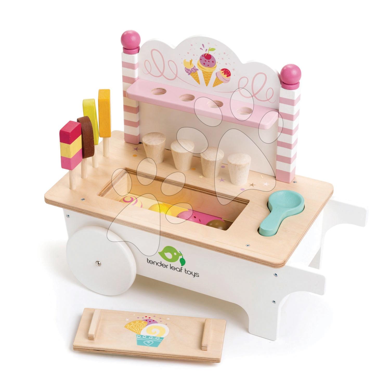 Drevený zmrzlinársky vozík Ice Cream Cart Tender Leaf Toys na kolieskach, 15 dielov s nanukmi a zmrzlinou