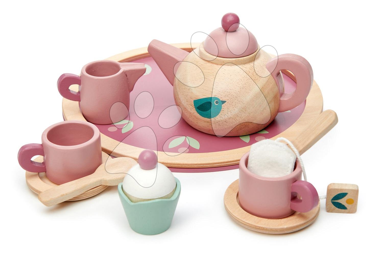 Dřevěný čajník Birdie Tea set Tender Leaf Toys na tácku se šálky s čajovým sáčkem