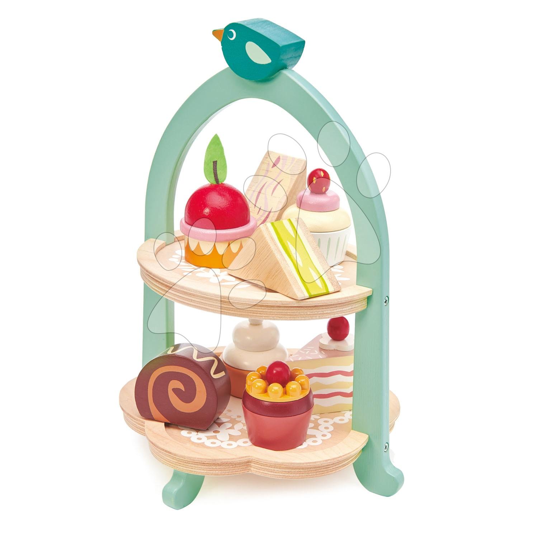 Dřevěná cukrárna Birdie Afternoon Tea stand Tender Leaf Toys se zákusky a sendviči
