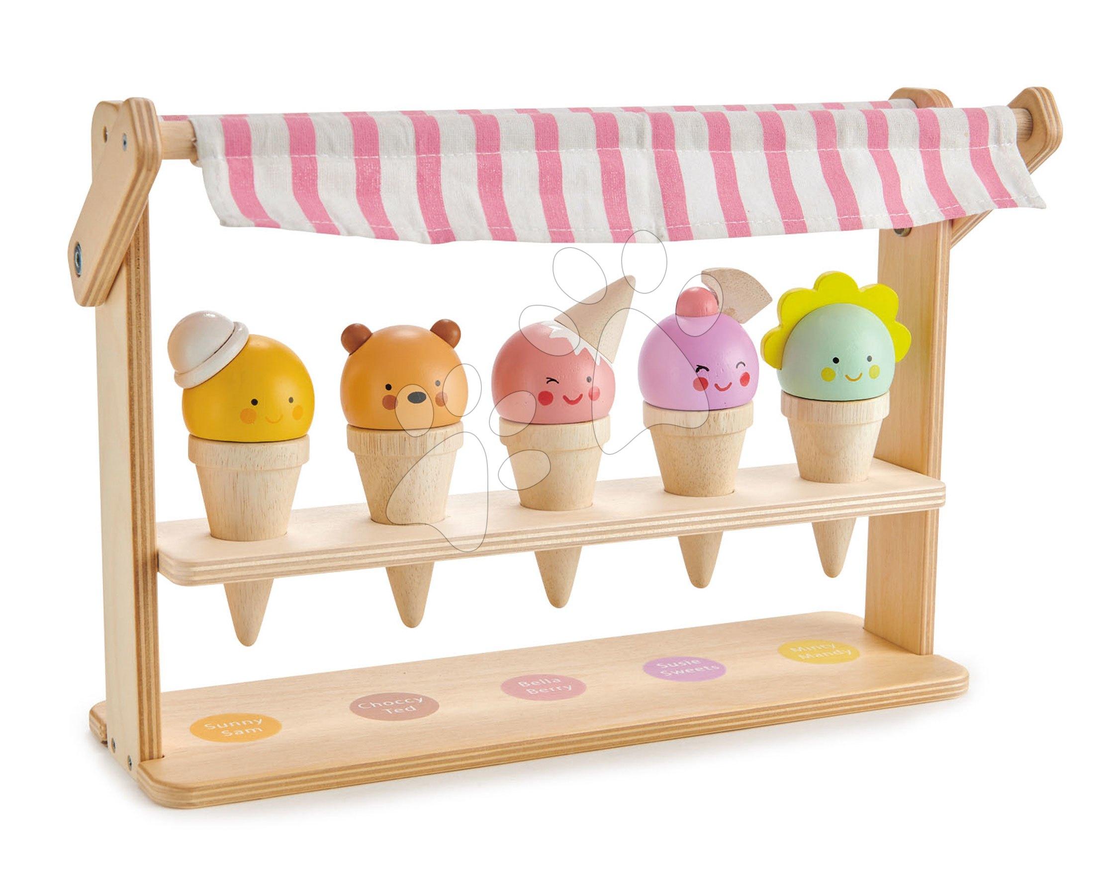 Dřevěná zmrzlinárna s úsměvem Scoops and Smiles Tender Leaf Toys5 druhů kornoutů se zvířátky 5 druhů kornoutů se zvířátky