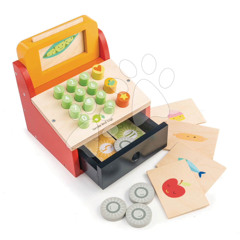 Drevená pokladňa Till with Money Tender Leaf Toys s 5 potravinami a peniazmi
