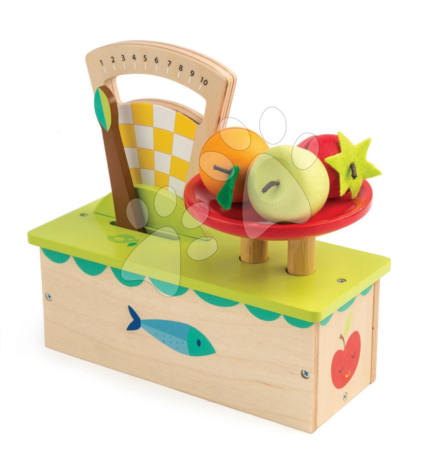 Drevená váha Weighing Scales Tender Leaf Toys 4-dielna súprava s ovocím