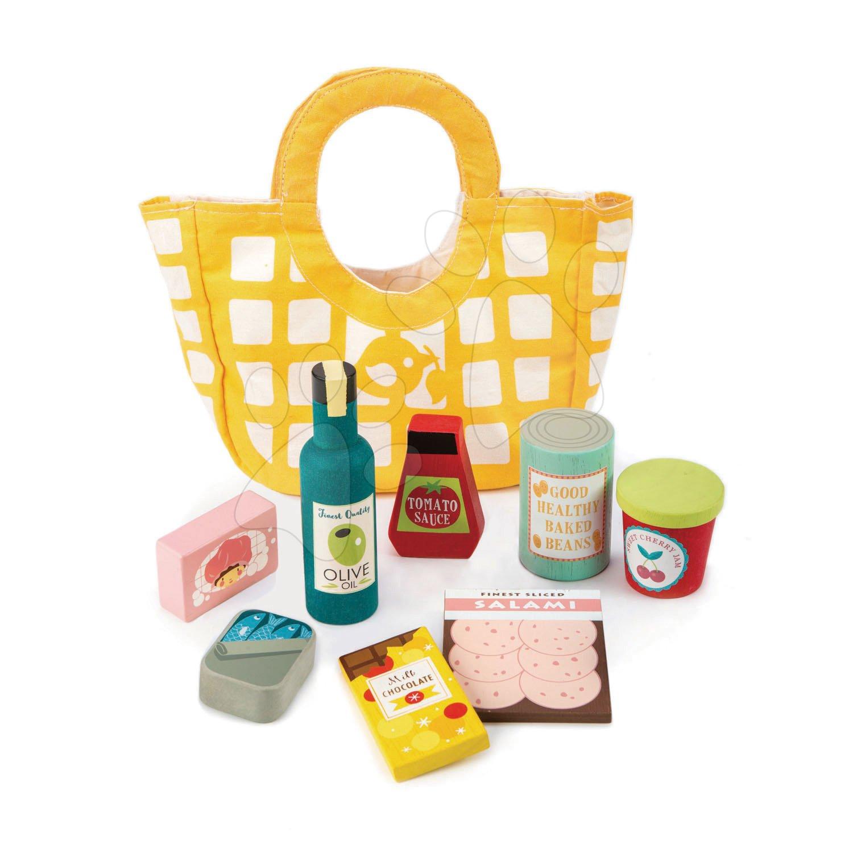 Drevené potraviny v textilnej taške Grocery Bag Tender Leaf Toys 9-dielna súprava