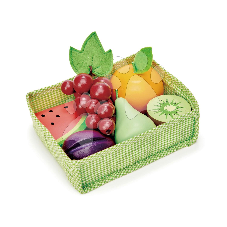 Drevené ovocie Fruity Crate Tender Leaf Toys 6 kusov v textilnom košíku