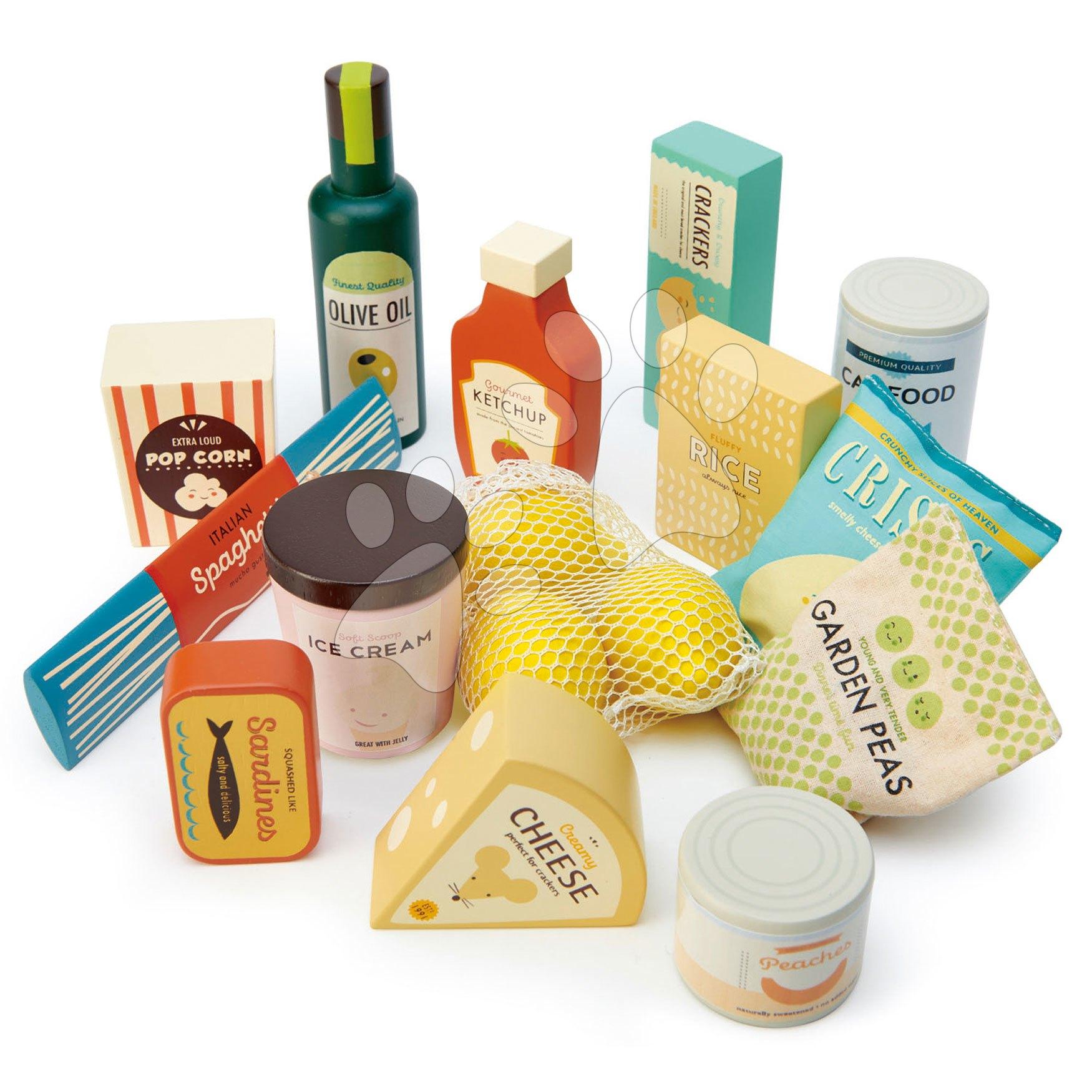 Dřevěné potraviny Supermarket Grocery Set Tender Leaf Toys potraviny citrony a sardinky