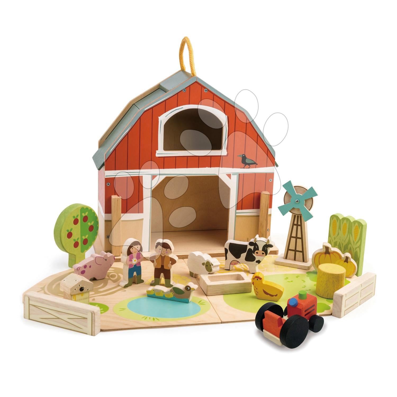 Dřevěná farma s traktorem Little Barn Tender Leaf Toys 17 doplňků s postavičkami a zvířátky