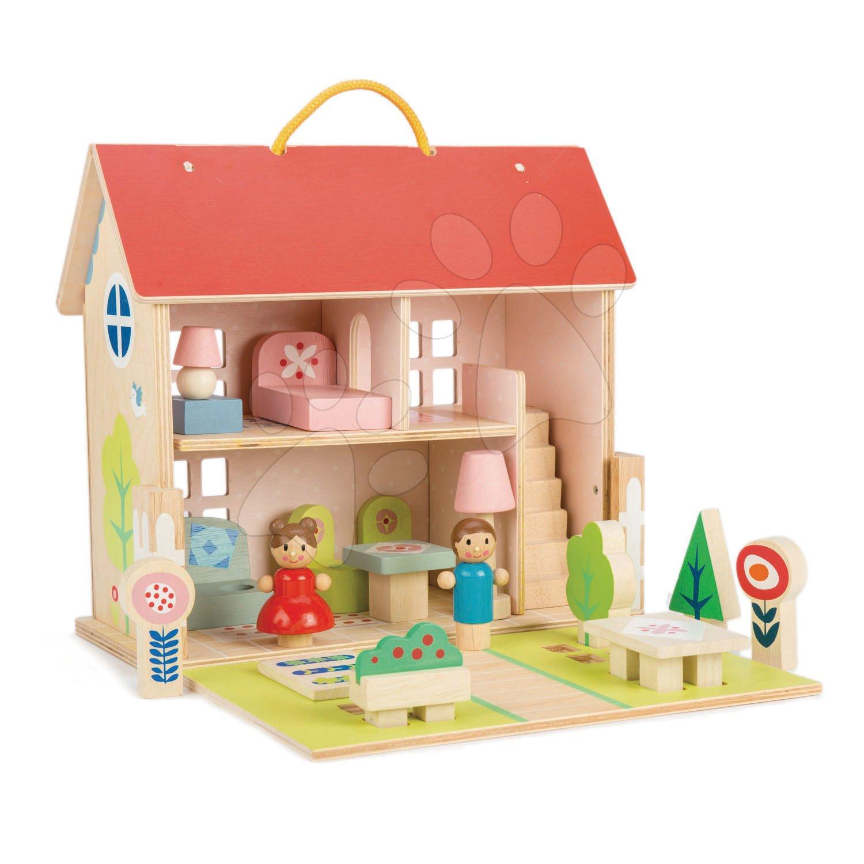 Drevený domček pre bábiku Dolls house Tender Leaf Toys s 2 postavičkami, nábytkom a 18 doplnkov