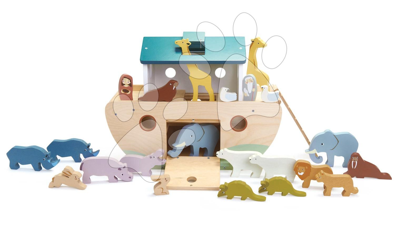 Drevená Noemova archa so zvieratkami Noah's Wooden Ark Tender Leaf Toys 10 párov zvierat