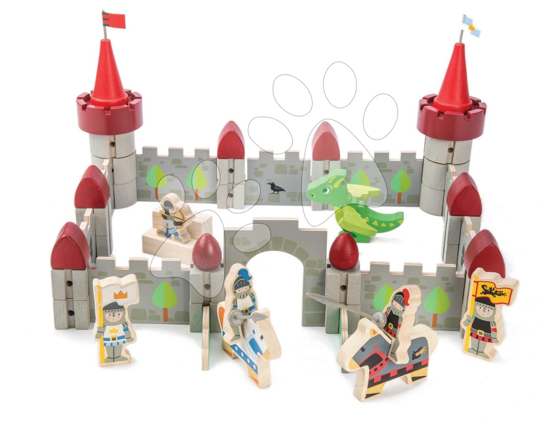 Drevený hrad Dragon Castle Tender Leaf Toys 59-dielna sada so šarkanom a vojakmi