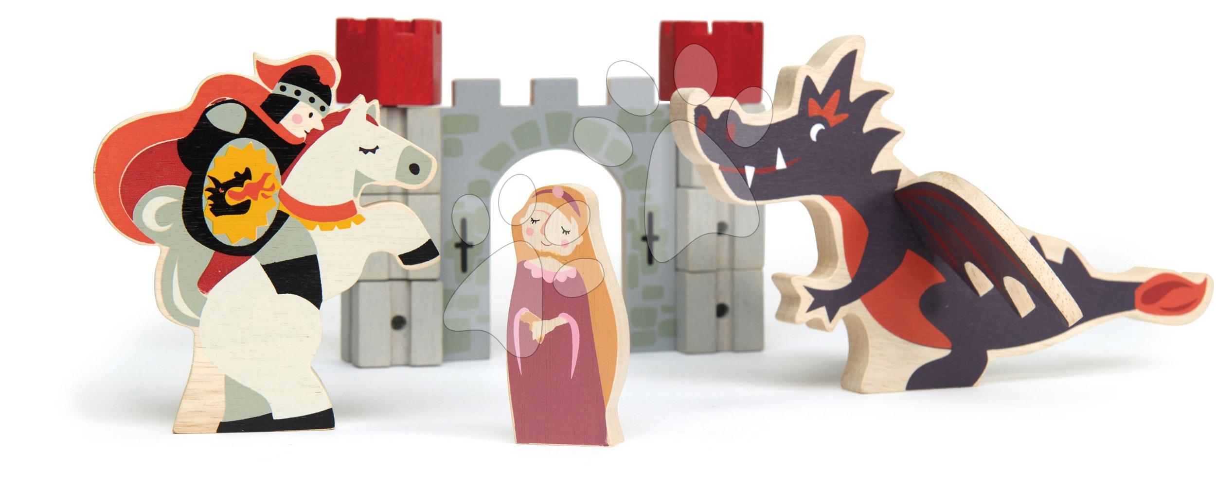 Drevený rytier so šarkanom a princeznou Knight and Dragon tales Tender Leaf Toys v rozprávke na hrade
