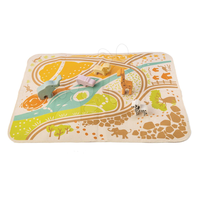 Drevené zvieratká Safari Playmat Tender Leaf Toys s hracou podložkou z plátna