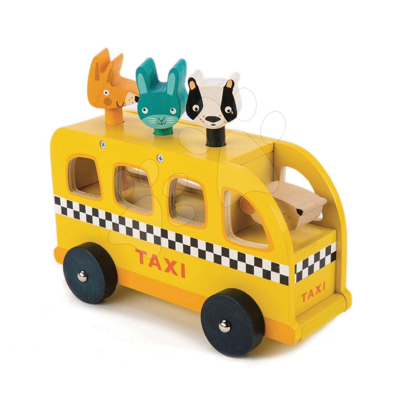 Drevené žlté auto Animal Taxi Tender Leaf Toys 3 zvieratká so zvukmi od 18 mes