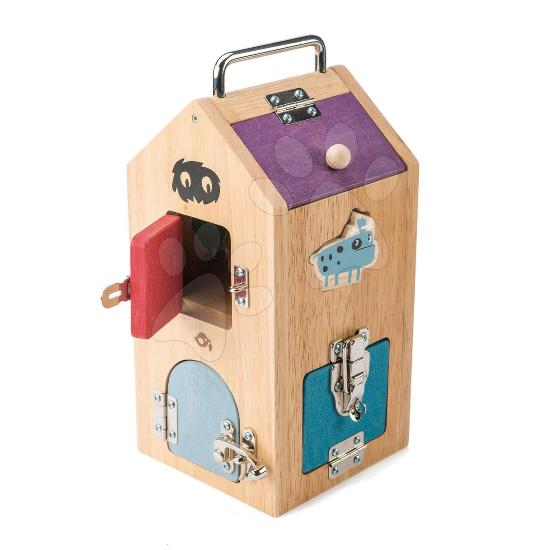Drevený domček so strašidlami Monster Lock Box Tender Leaf Toys 8 dverí s 8 rôznymi zámkami a 2 strašidlá