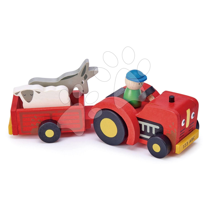 Drevený traktor s prívesom Tractor and Trailer Tender Leaf Toys s farmárom ovcou a somárom