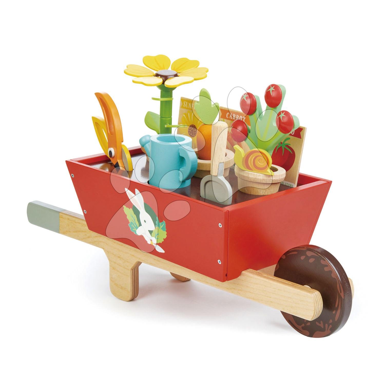 Drevený fúrik so záhradným náradím Garden Wheelbarrow Tender Leaf Toys 13-dielna súprava, kvetináče s krhlou a rastlinami