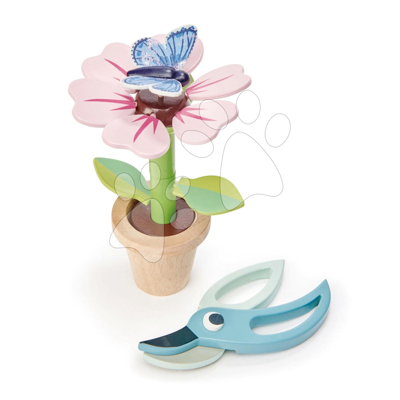 Dřevěná květina v květináči Blossom Flowerpot Tender Leaf Toys rozebíratelná s motýlem a nůžkami