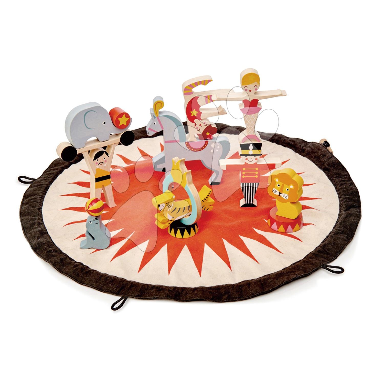 Drevený cirkus Circus Stacker Tender Leaf Toys na okrúhlej plátenej taške s potlačou a figúrkami