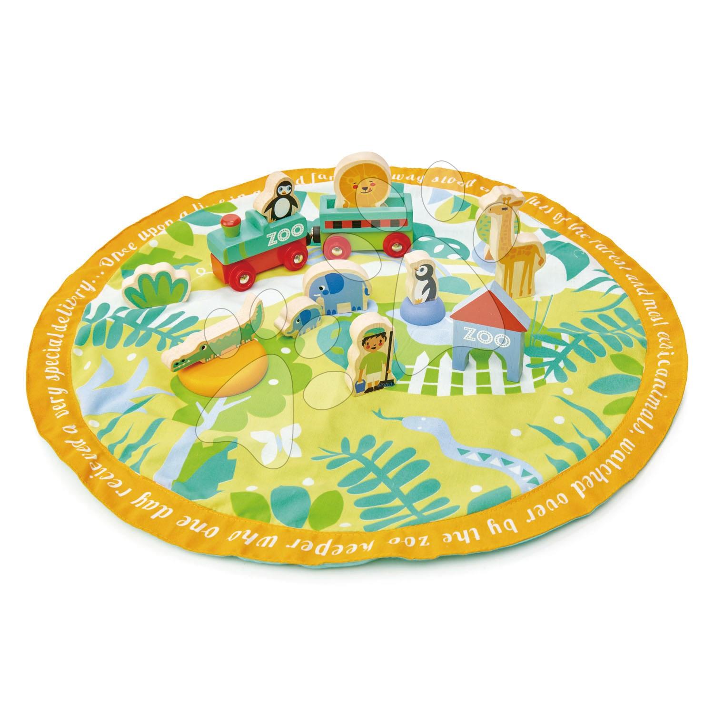 Drevený park so zvieratkami Safari Park Story Bag Tender Leaf Toys na okrúhlej plátenej taške s potlačou džungle