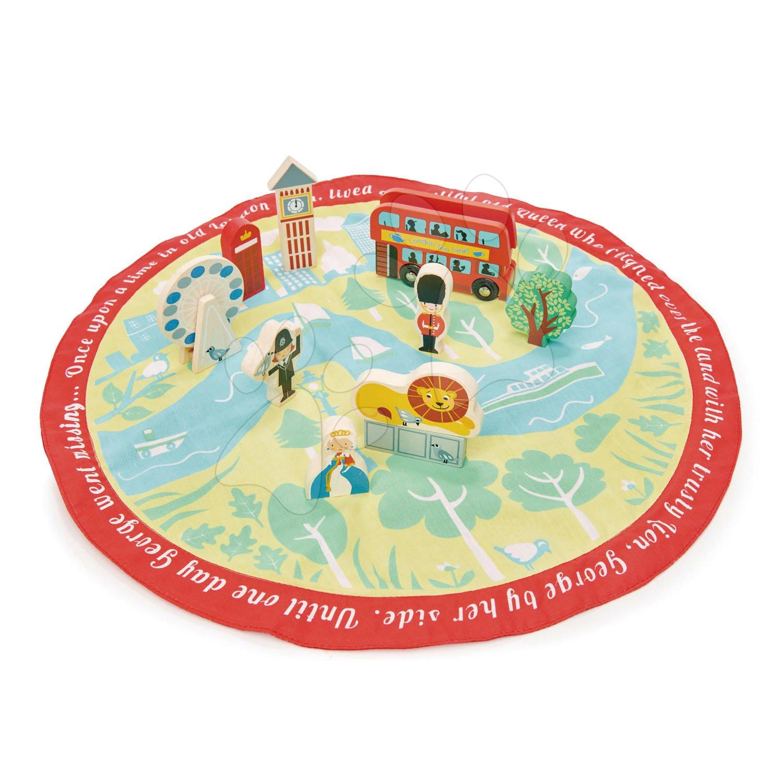 Drevené mesto s figúrkami London Story Bag Tender Leaf Toys na okrúhlej plátenej taške s potlačou mapy