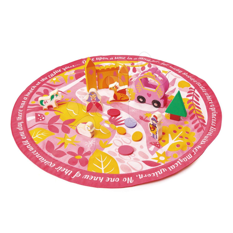 Drevená krajina s princeznou Fairy tale Story Bag Tender Leaf Toys na okrúhlej plátenej taške s potlačou krajiny