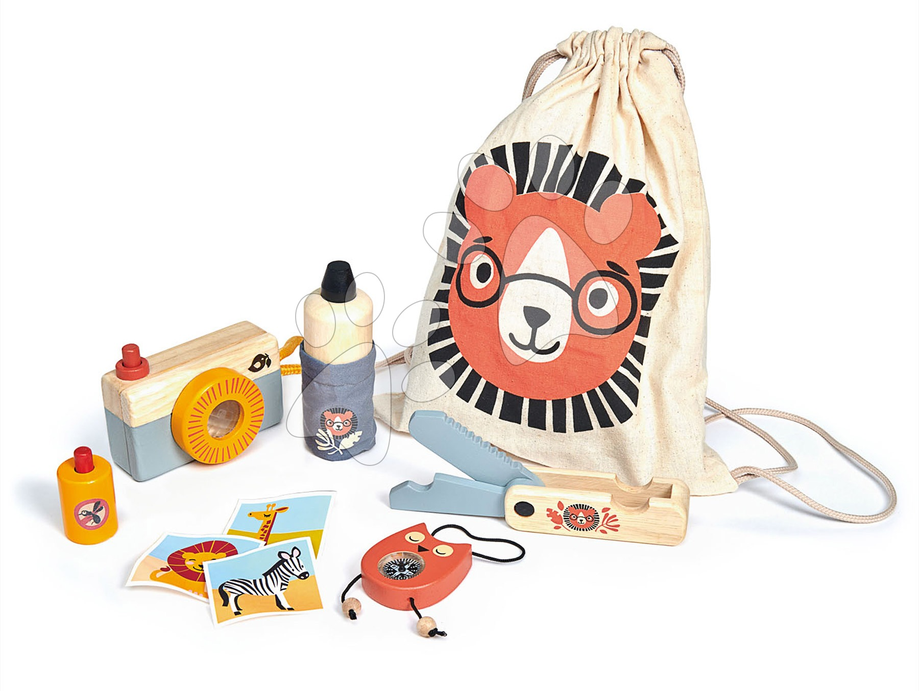 Drevená sada na výlet Safari Adventure Tender Leaf Toys s fotoaparátom kompasom a doplnkami v taške