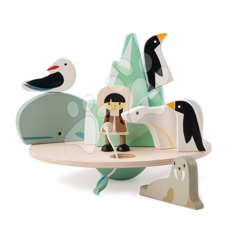 Drevená polárna kryha so zvieratkami Balancing Polar Circle Tender Leaf Toys a eskimákom na rybách