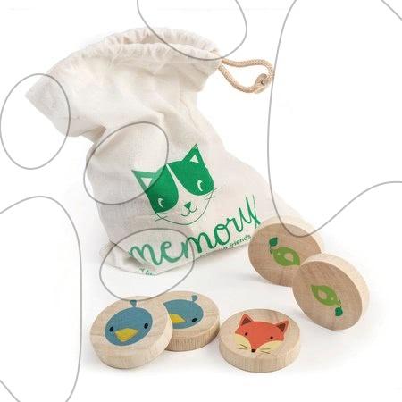 Drevené pexeso Clever Cat Memory Tender Leaf Toys 20 krúžkov s 10 zvieratkami od 18 mes