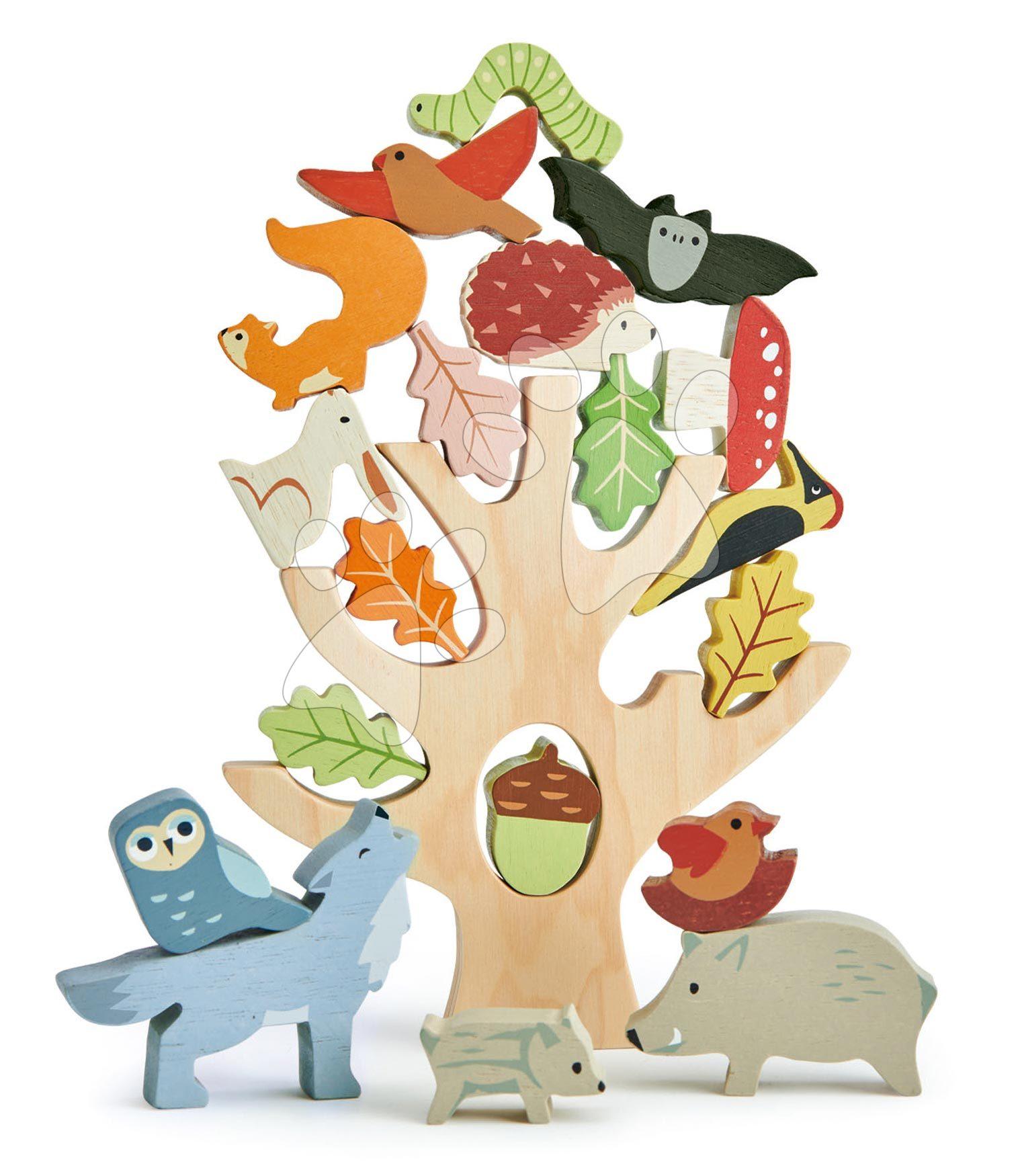 Drevený strom s rovnováhou Stacking Forest Tender Leaf Toys s 19 zvieratkami a lesnými plodmi od 18 mes