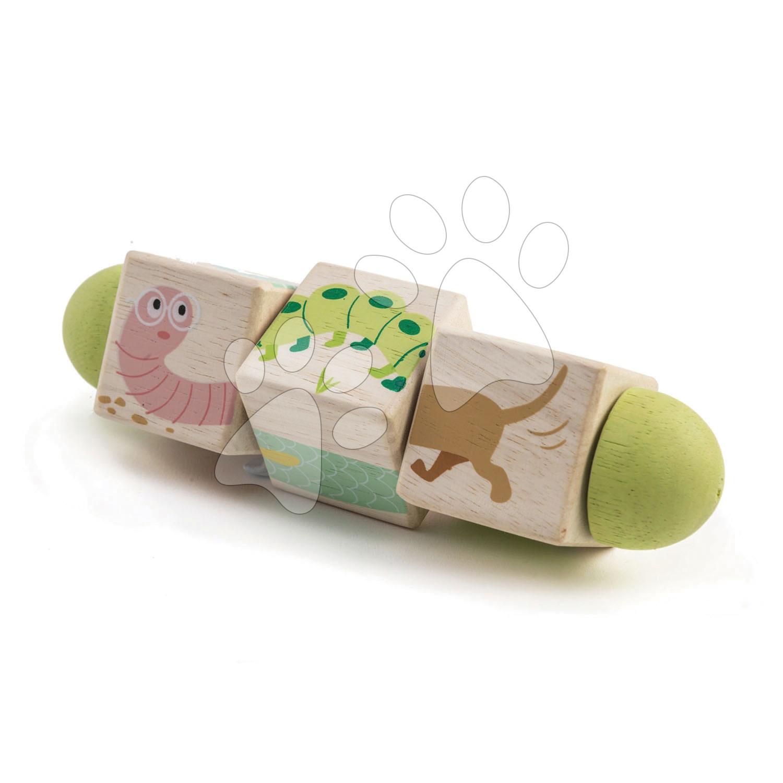 Cilindru din lemn Twisting Cubes Tender Leaf Toys cu animăluțe vopsite de la 18 luni