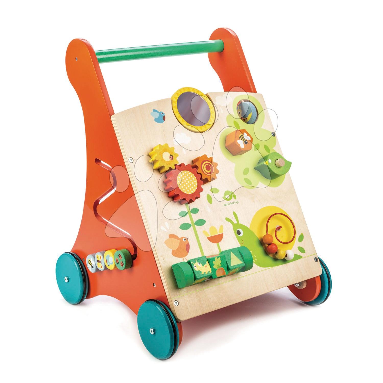 Drevené chodítko záhrada Baby Activity Walker Tender Leaf Toys s rôznymi funkciami a kockami od 18 mes