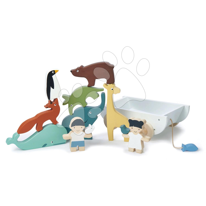 Fa kisfiú és kislány állatkákkal The Friend Ship Tender Leaf Toys kocsin, 12 darabos