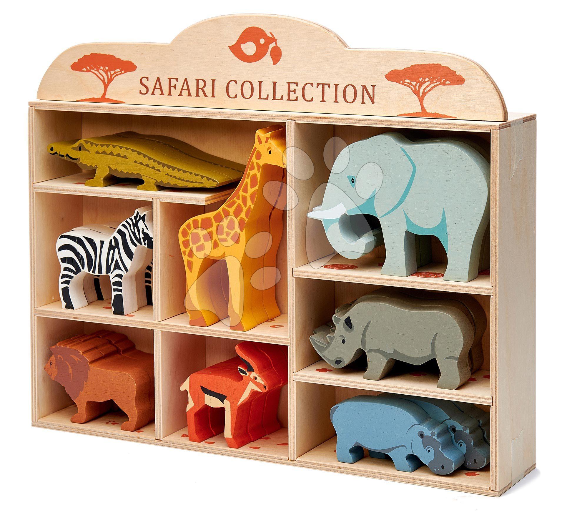 Drevené divoké zvieratká na poličke 24 ks Safari set Tender Leaf Toys krokodíl slon zebra antilopa žirafa nosorožec hroch lev