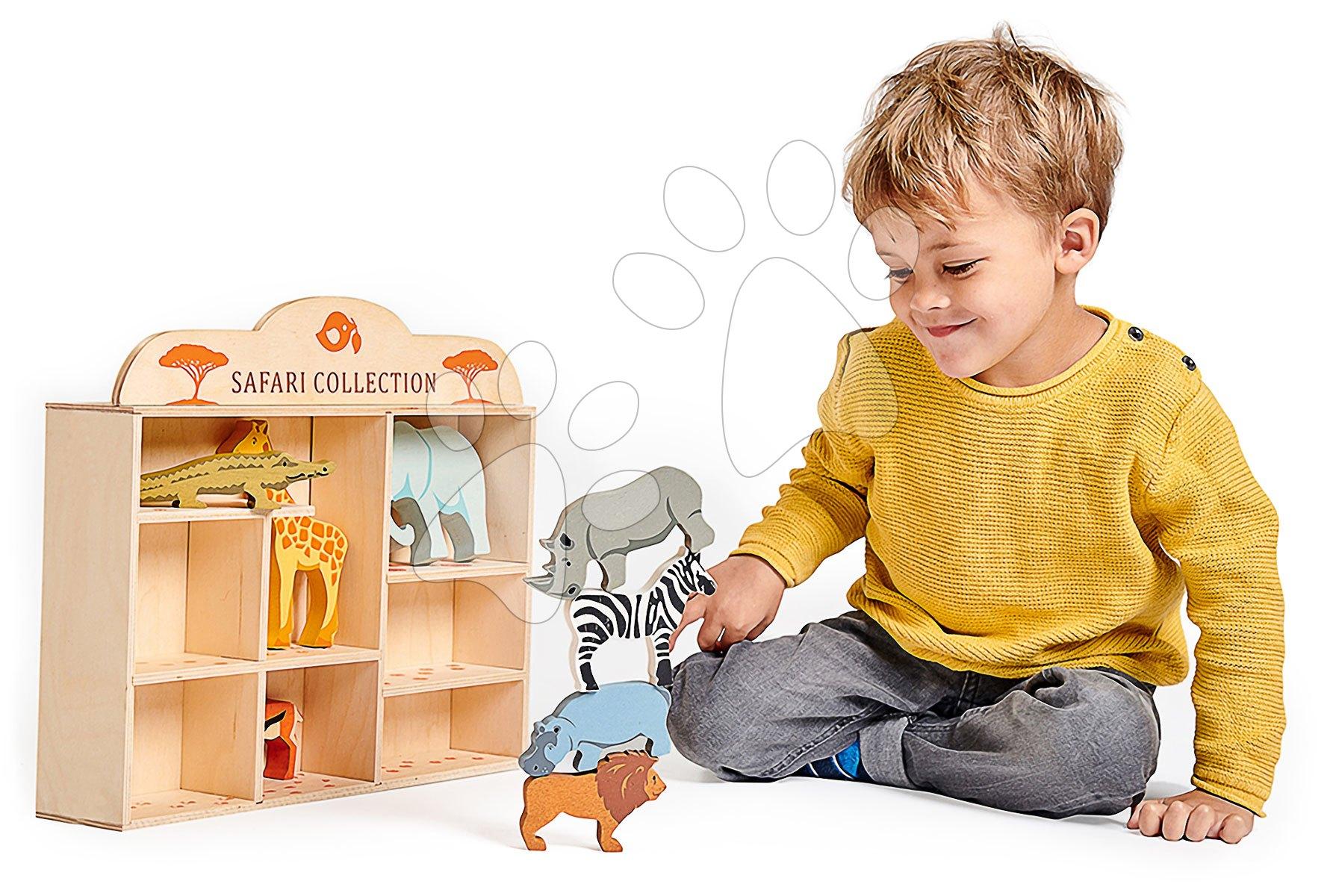 Drevené divoké zvieratká na poličke 8 ks Safari set Tender Leaf Toys krokodíl, slon, zebra, antilopa, žirafa, nosorožec, hroch, lev