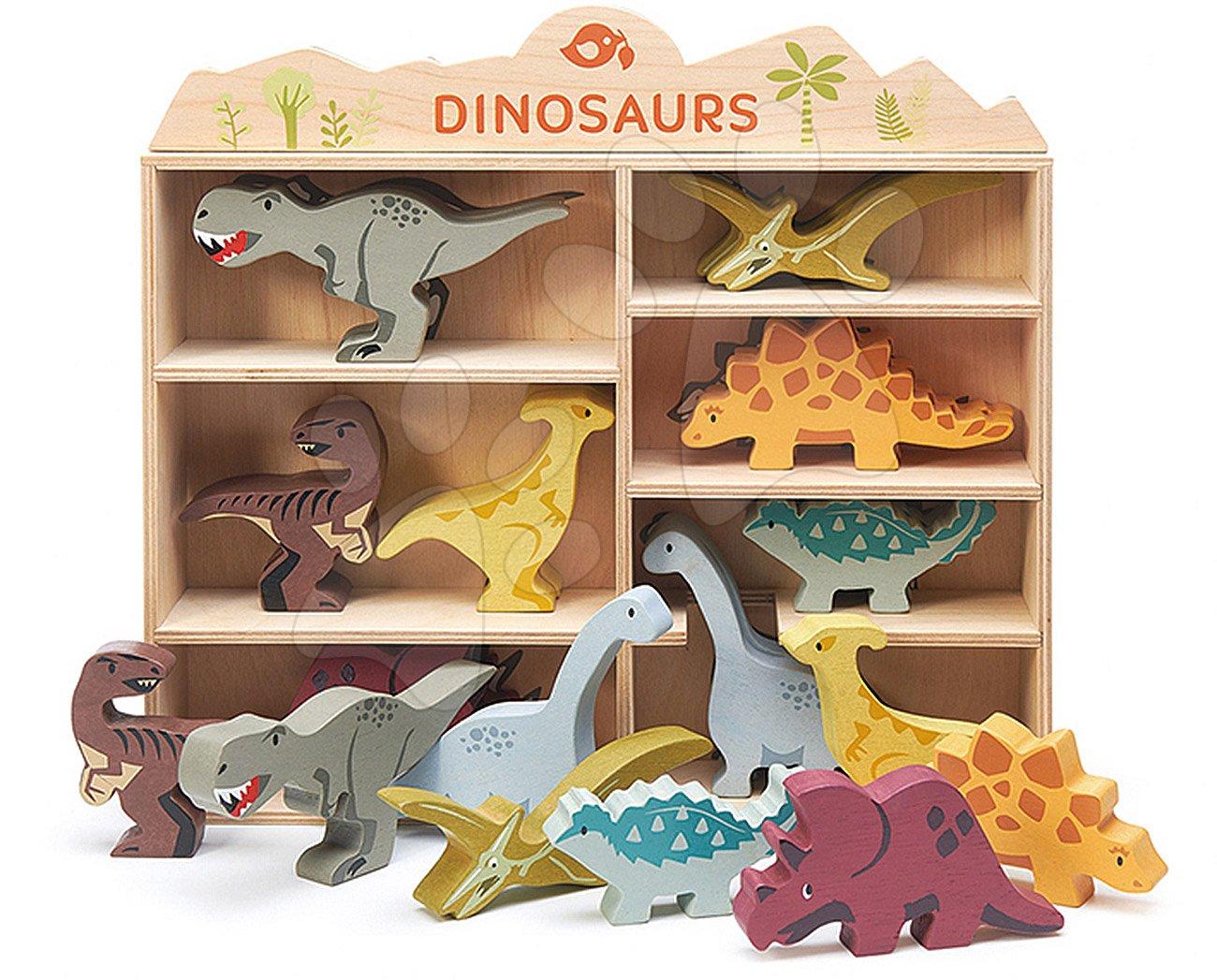 Drevené prehistorické zvieratá na poličke 24 ks Dinosaurs set Tender Leaf Toys