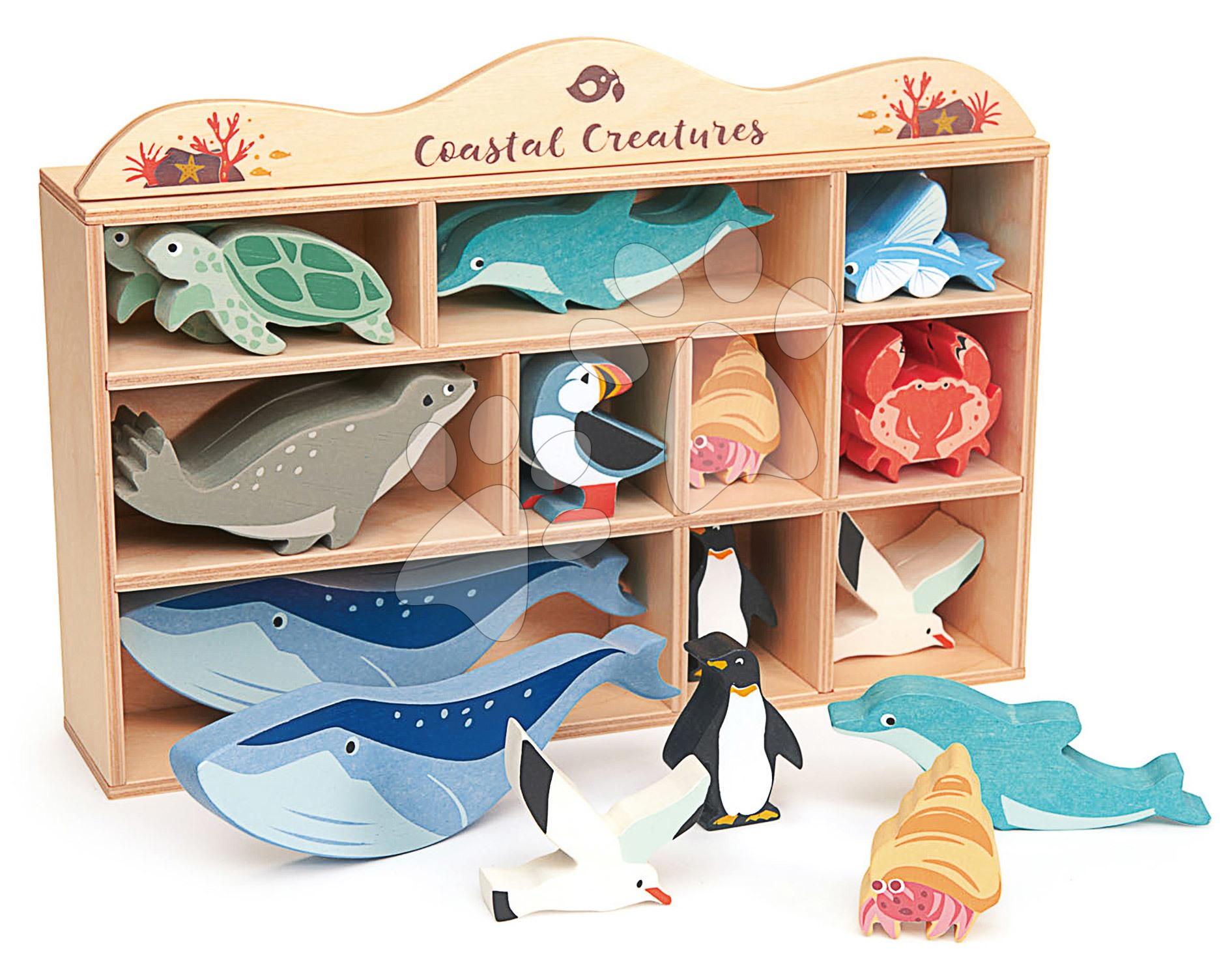 Drevené morské zvieratá na poličke 30 ks Coastal set Tender Leaf Toys