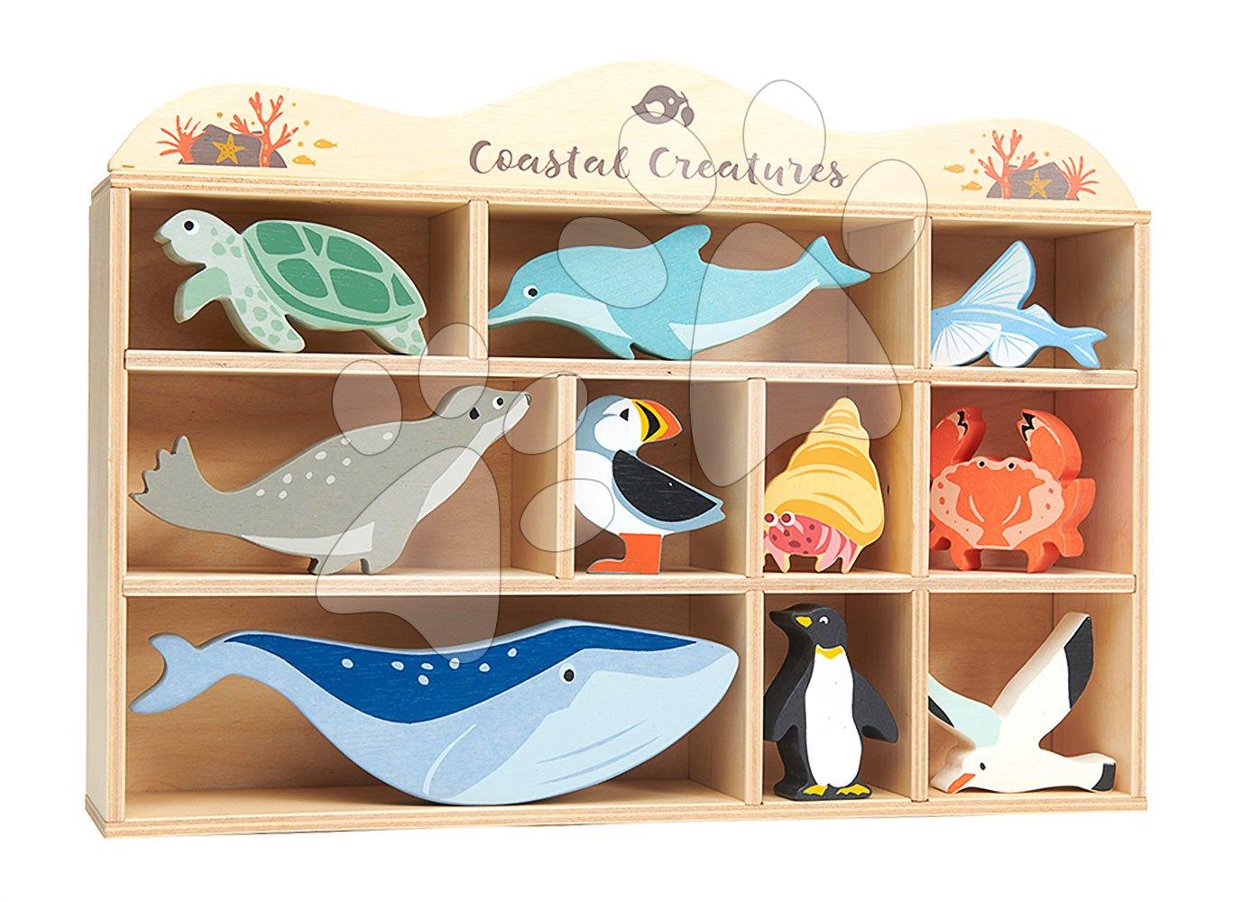 Drevené morské zvieratá na poličke 10 ks Coastal set Tender Leaf Toys