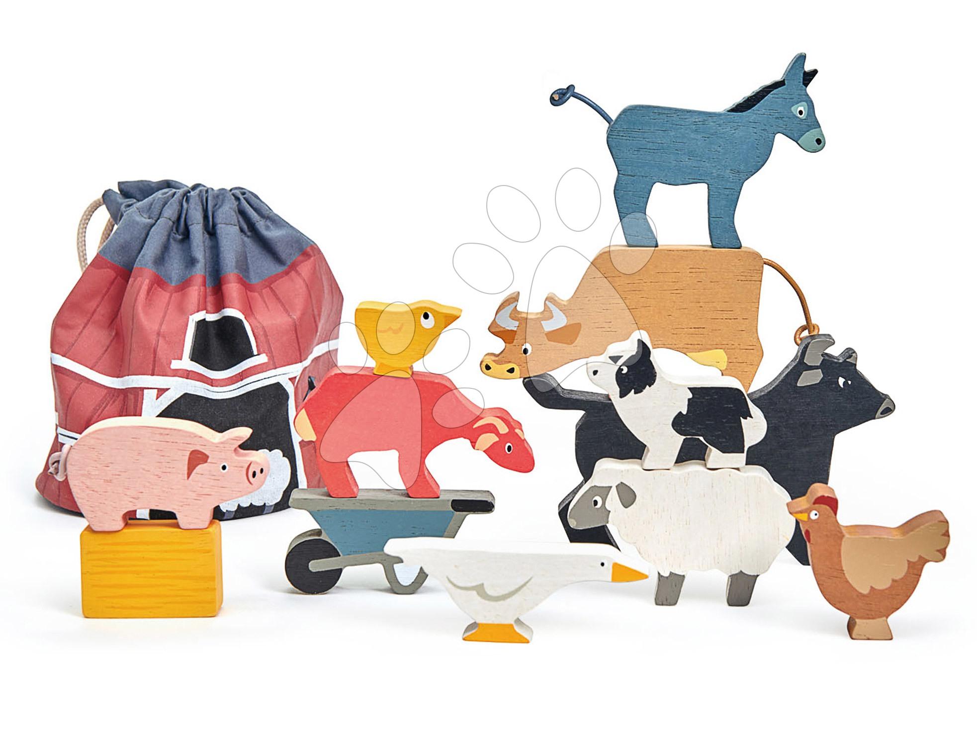 Drevené domáce zvieratká Stacking Farmyard Tender Leaf Toys 10 druhov stohovateľné