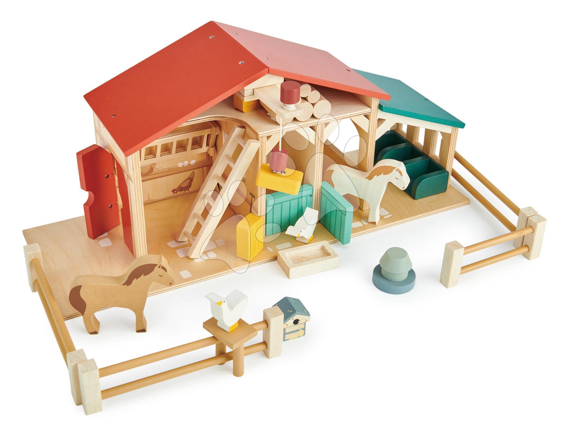 Dřevěná farma s ohradou Tender Leaf Toys Farm s domácími zvířátky a jejich chlívky