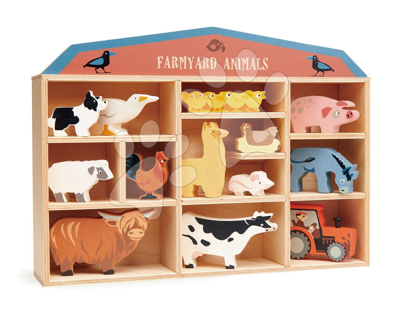 Drevené domáce zvieratká na poličke 13 ks Farmyard set Tender Leaf Toys