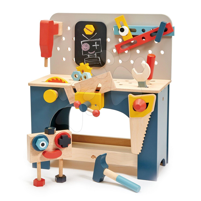 Drevená dielňa s robotom Table top Tool Bench Tender Leaf Toys s náradím a stavebnicou